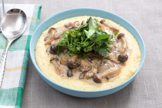 Stewed Wild Mushrooms with Creamy Goat Cheese Polenta & Fresh Herb ...