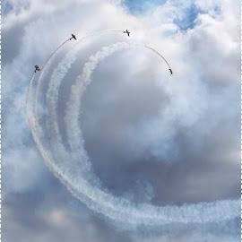Barrel Rolls by Sandy Stevens Krassinger - Transportation Airplanes ( barrel roll, contrails, airplanes, bi-planes, transportation )