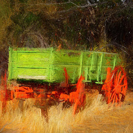 Paint your wagon by Gaylord Mink - Digital Art Things ( green, tongue, wagon, transportation )
