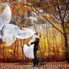 Autumn wedding by Vlada Jovic - Wedding Bride & Groom ( wedding photography, autumn, wedding, autumn wedding, bride and groom, photography )