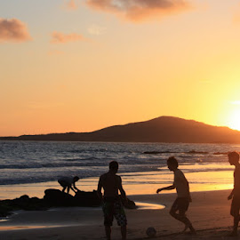 Galapagos Football at Sunset by Karen Coston - Novices Only Street & Candid ( reflection, football, silhouette, sunset, candid, beach, galapagos, soccer, golden hour,  )