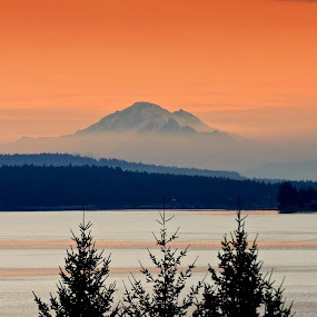 Morning, Mt. Baker by Campbell McCubbin - Landscapes Waterscapes ( orange, mountain, mt. baker, ocean, sunrise, morning )