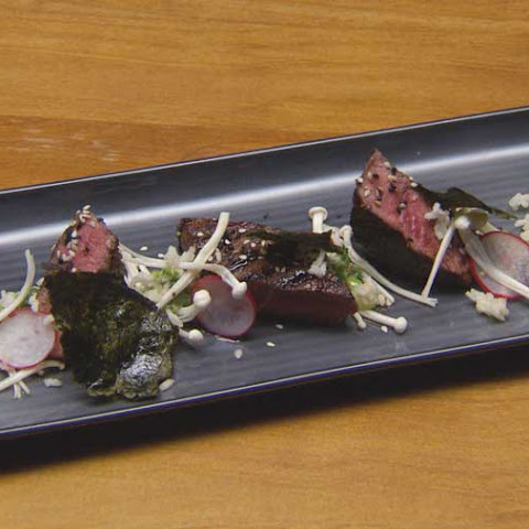Sesame Glazed Beef with Wasabi and Shallot Relish, Chilli Nori Salt and Sake Radishes