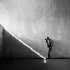 The Art Wall by Kalin Kostov - Nudes & Boudoir Artistic Nude ( girl, nude, black and white, art, fine art, beauty, woamn, act, women, black, wall )