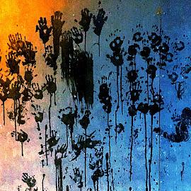 Hands of future by Mathias Hansen - Digital Art Abstract ( water, cool, marks, colors, art, children, pop, yellow, photo, child, colour, picture, modern, new, hands, blue, digital art, wall )