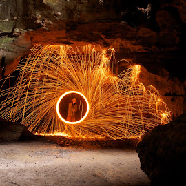 Spinning fire in a cave... by Chris Taylor - Abstract Fire & Fireworks ( abstract, spinning, spinning fire, long exposure, fire )