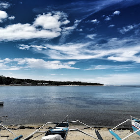 Seaside life by Adoracion Bautista - Landscapes Cloud Formations ( blue, boats, sea, fishing, skies,  )
