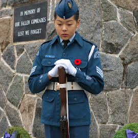 Moment of Silence by Garry Dosa - People Street & Candids ( solemn, outdoors, remembrance day, cermemony, people, cadet )