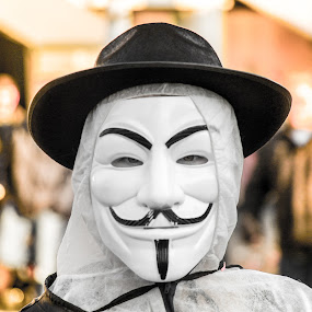 Carnaval (or Mardi Gras) in Belgium with protest. by Roger Hamblok - People Portraits of Men ( hacktivist, black and white, protest, masquerade, international, cyberattacks, mask, vendetta, goatee, hacker, cyber, disguise, hat, anonymous, anons, color, guy fawkes, zorro, occupy, mustache,  )
