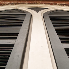 Church Shutters; architecture details by Gwyn Goodrow - Buildings & Architecture Architectural Detail ( building, church, brick, architectural detail, shutters, black, historic,  )