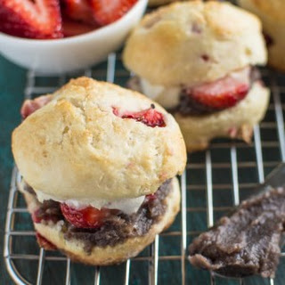 Mini Strawberry Scones with Sweet Red Bean Paste