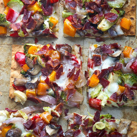 Maple Roasted Vegetable & Crispy Bacon Flatbread