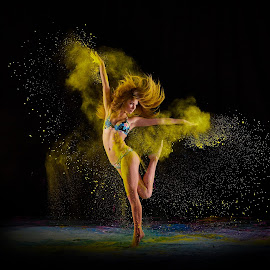 Katelyn In Yellow by William Kendzierski - People Portraits of Men ( portrait photographers, portraits of women, acrobat, ballerina, ballet, dance, dancer )