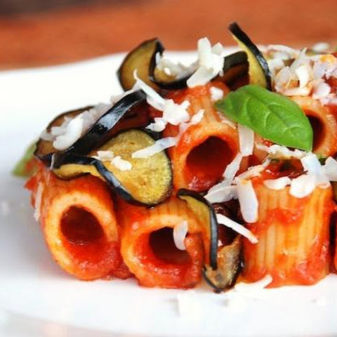 Rigatoni With Eggplant, Ricotta Cheese And Tomatoes
