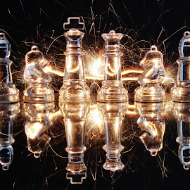 glass pieces and sparkle by Peter Salmon - Artistic Objects Glass ( pieces, trail, chess, glass, sparklers )