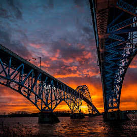 South Grand Island Briidge, Grand Island, NY by John Witt - Buildings & Architecture Bridges & Suspended Structures ( south grand isand bridge, buffalo ny, niagara river, sunrise, bridge )