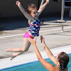 Jumping in the pool is the best by Julia Van Klinken Myers - Babies & Children Children Candids ( water, jumping, summer, swimming pool, summer fun, kids, fun, swimming, emotion )