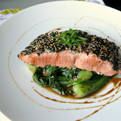 Sesame Crusted Bristol Bay Wild Sock- eye Salmon with Sweet Soy Glaze