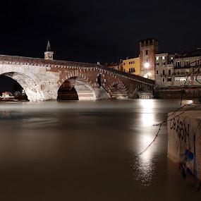 Ancient Bridge by Giancarlo Ferraro - Buildings & Architecture Bridges & Suspended Structures ( old, night, bridge, roman, river )