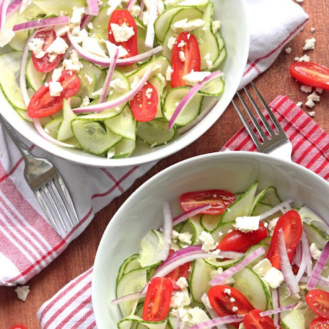 Greek Salad with Spiralized Cucumber Noodles