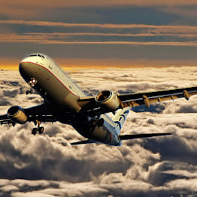Among the clouds by Ivana Miletic - Transportation Airplanes ( clouds, flight, plane, sunset, travel, ivana miletic )