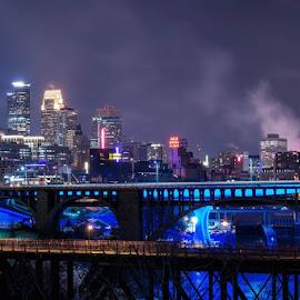 by Rashod Mccray - City,  Street & Park  Skylines ( skyline, skyscraper, blue, metropolitan, minneapolis, bridges, city )