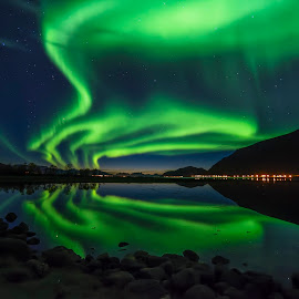 Aurora Borealis reflection by Jens Andre Mehammer Birkeland - Landscapes Waterscapes ( reflection, northern lights, aurora borealis, sea, reflections )