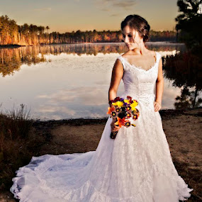 Bridal by the Lake by Cody Miller - Wedding Bride ( canon, clouds, bouquet, detail, beautiful, white, 2.8l, young, portrait, amazing, sky, details, air force, nc, female, gorgeous, dress, wife, 24-70, bride, flowers, bragg, pope,  )