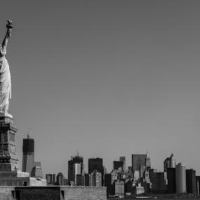 The City by Massimo Izzo - City,  Street & Park  Skylines ( skyline, liberty statue, symbol, nyc, liberty island, usa )
