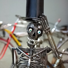 by Dragos Tranca - Artistic Objects Antiques ( skull, vintage, metal, skeleton, hat )