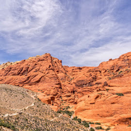 Oh What Red Rocks you Have by Linda Richardson - Landscapes Deserts ( clouds, las vegas, desert, red, nevada, red rock, landscape, rocks )