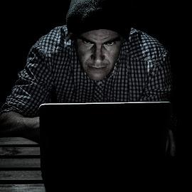 Hacker by Renke Bargmann - People Portraits of Men ( computer, low key, cap, shadow, hacker )