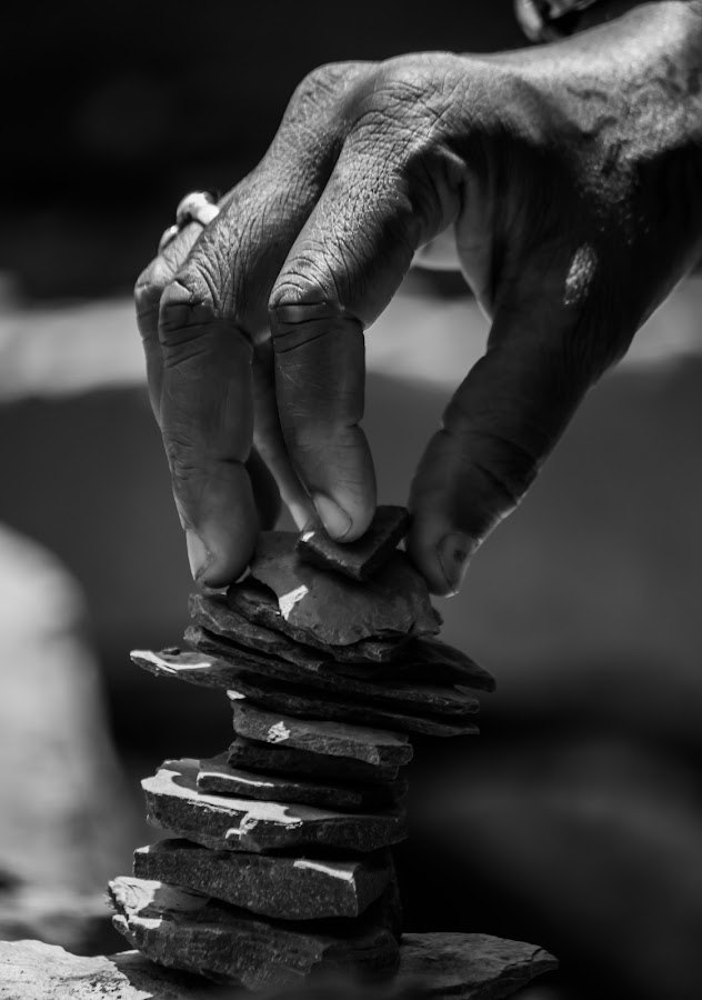 The Investment by Harsha Areti - People Body Parts ( hand, black and white, expressive hands, stones, investment )