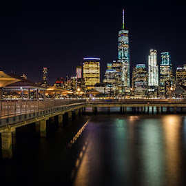 Exchange Place by Jim Hamel - City,  Street & Park  Night ( water, buildings, night, new york, city )