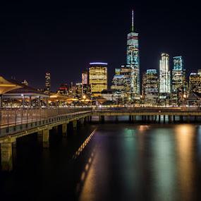 Exchange Place by Jim Hamel - City,  Street & Park  Night ( water, buildings, night, new york, city )