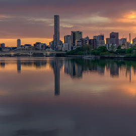 Sunrise Bribane city by Dom Del - City,  Street & Park  Skylines ( water, buildings, cityscape, sunrise, river, city )