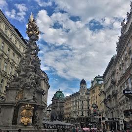 by Phil Bear - City,  Street & Park  Street Scenes ( city, street, statue, austria, vienna, europe )