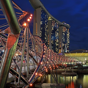 Twilight at Helix Bridge by Fajar Krisna - Buildings & Architecture Bridges & Suspended Structures ( helix bridge, mbs, marina bay )