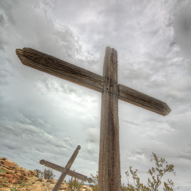 Miners Rest by Ron Kreml - Artistic Objects Other Objects ( texas, cemetary, grave, wooden_cross, storm, west, cross )