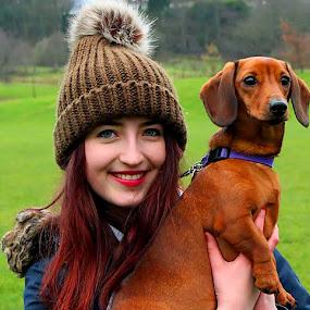 Beautiful Scottish girl by Luz UK - People Portraits of Women ( woman, blue eyes, happiness, brown, dog, portrait, eyes,  )