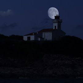 The lighthouse and the moon  by Alessandra Antonini - Digital Art Places ( moon, sky, lighthouse, night )