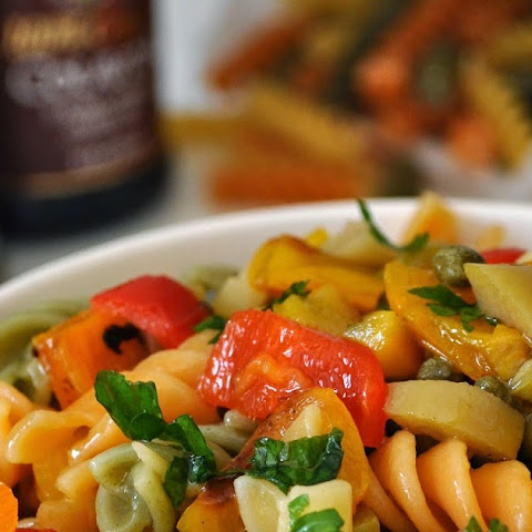 Colorful Pasta Salad with Grilled Peppers, Capers and Green Olives