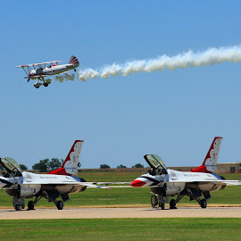 with the old over the new by Dario Riano - Transportation Airplanes ( army, flying, blue sky, airplanes, aircraft, f16, talent, show, dangerous, airshow )
