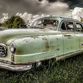 Crusin' by Dougetta Nuneviller - Transportation Automobiles ( yesteryear, clunker, car, crusier, vintage, automobile, paint, junk, missouri, hotrod, old times, precious junk, rt66, rust )