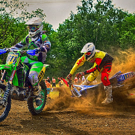 Red Dust Cloud by Marco Bertamé - Sports & Fitness Motorsports ( green, number, yellow, race, clumps fall acident, two, red, cloiud, motocross, dust, 611, six hundred eleven, duel, crash, competition )