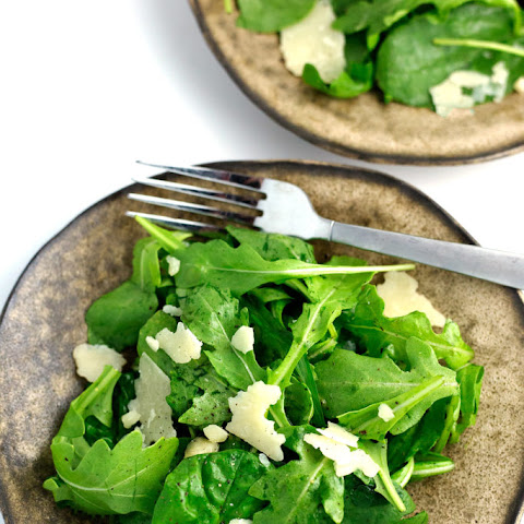 Arugula Spinach Salad with Lemon, Olive Oil, and Parmesan