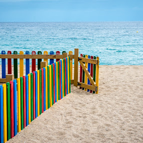 Colorful Fence by Nitescu Gabriel - Buildings & Architecture Other Exteriors ( water, catalunia, fence, see, waterscape, mediterranean, beach, barcelona, costa brava, spain,  )
