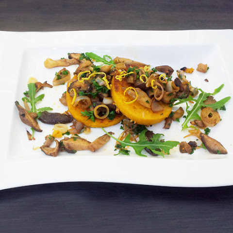 Mushrooms on Butternut Polenta Galettes [vegan]