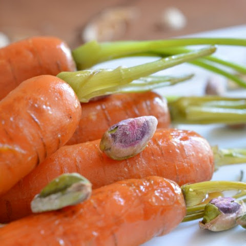 Maple Bourbon Glazed Carrots with Pistachios and Sea Salt