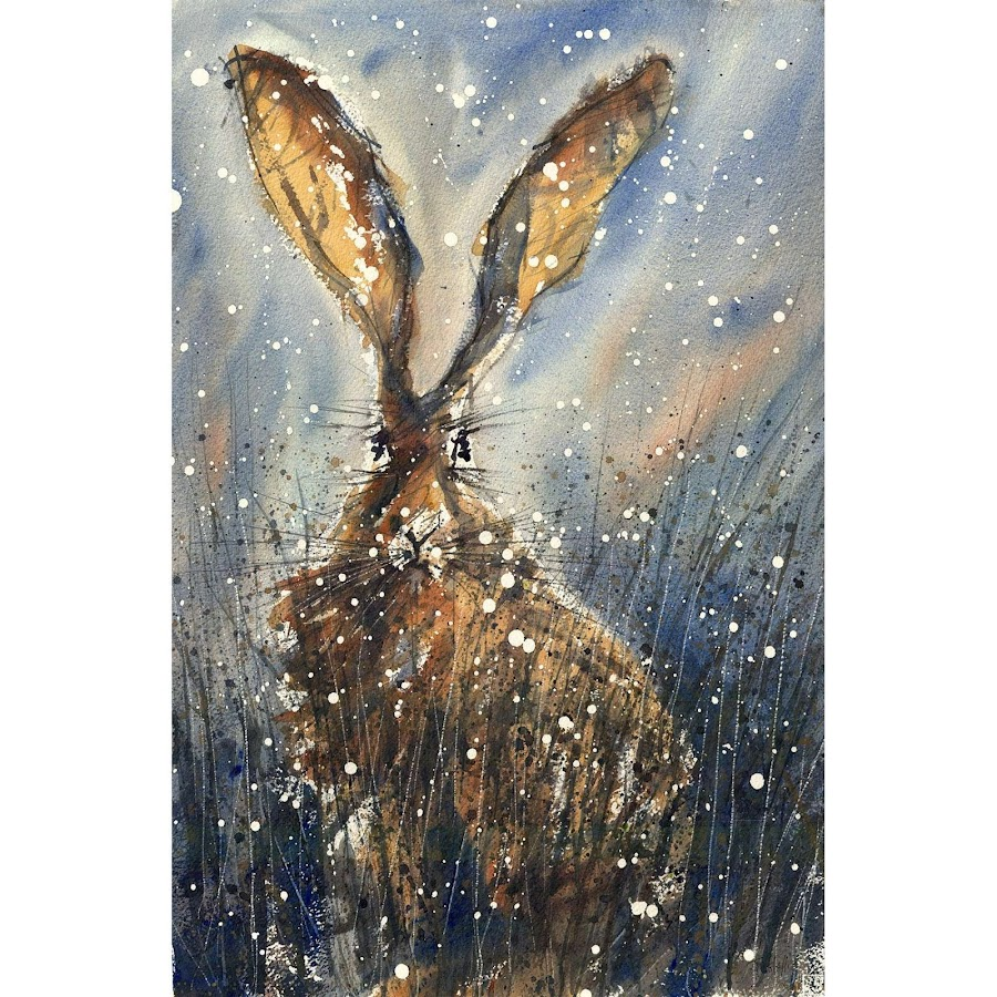 Christmas Hare art print painting watercolour
